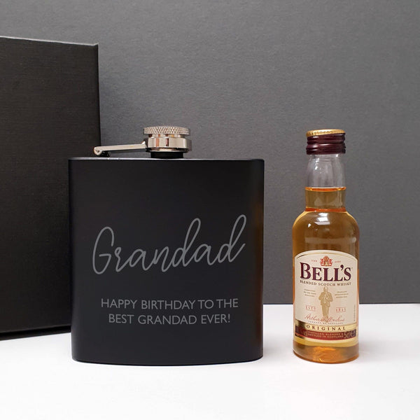 Black Hip Flask and Miniature Bells - Personalised For Grandad