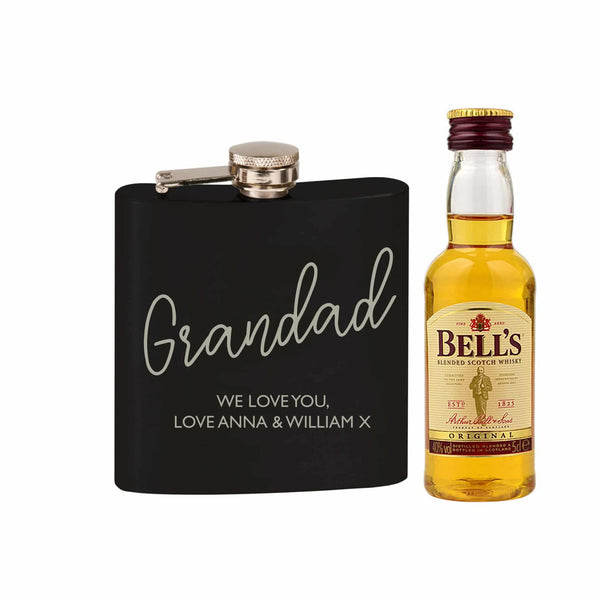 Perspnalised Black Hip Flask and Miniature Bells