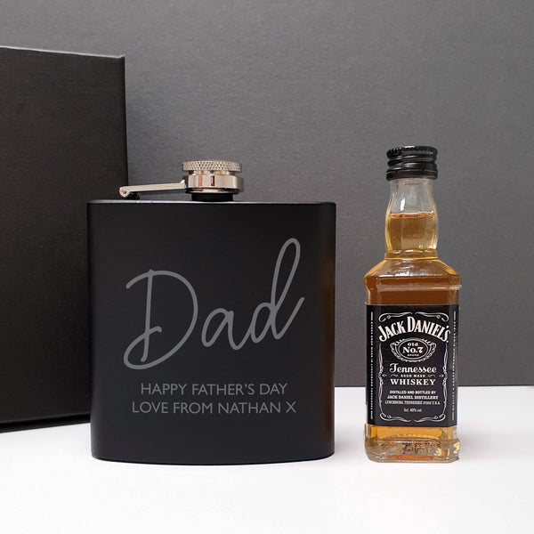 Black Hip Flask and Miniature Jack Daniels - Personalised For Dad