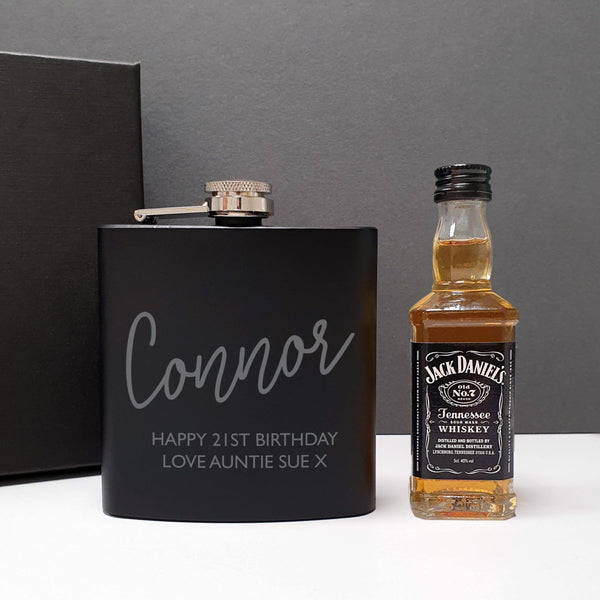 Black Hip Flask and Miniature Jack Daniels - Personalised For Connor