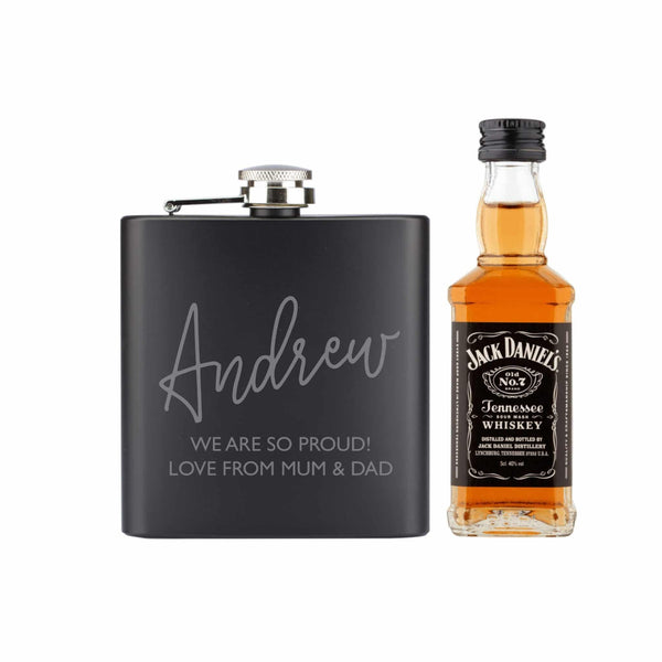 Black Hip Flask and Miniature Jack Daniels - Personalised For Andrew