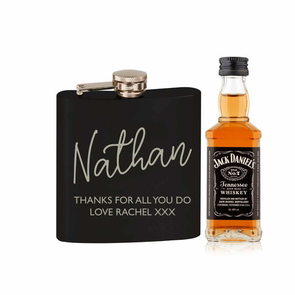 Black Hip Flask and Miniature Jack Daniels - Personalised For Nathan