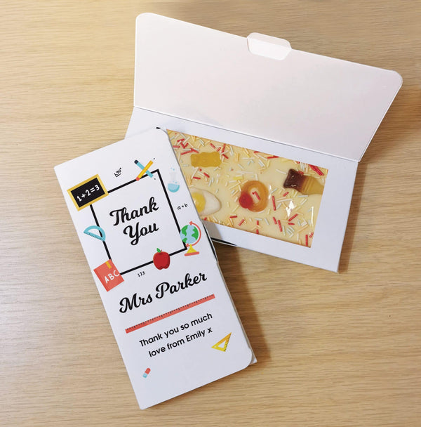 Thank You Teacher White Chocolate Card -  Personalise With A Name & Message