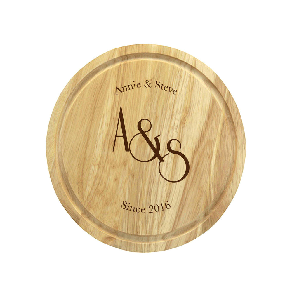 Monogram Wooden Round Cheese Board