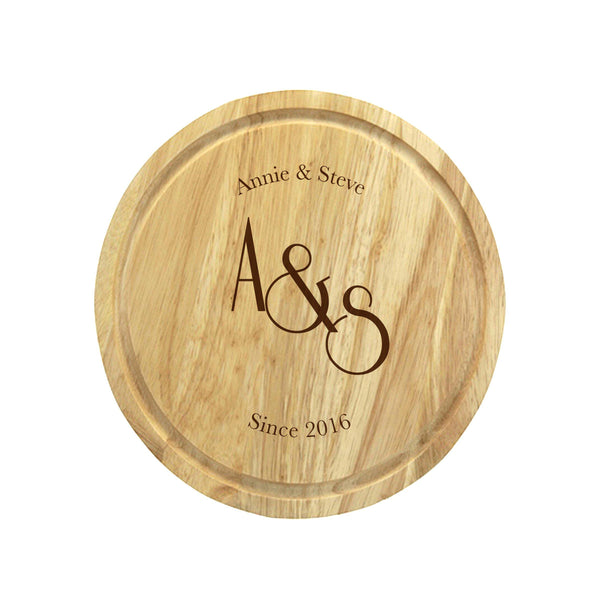 Monogram Wooden Round Cheese Board - 2 Name Positioned At The Top With The Monogram Centered With A Significant Date At The Bottom