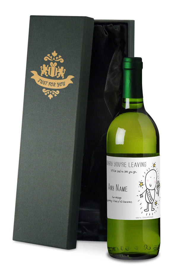 Personalised Chilli & Bubbles Leaving White Wine - With Silk Lined Gift Box