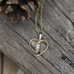 9ct Gold Heart with Diamonds Necklace - 3v3rythinguneed