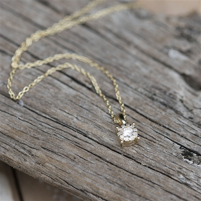 9ct Yellow Gold Solitaire Diamond Necklace