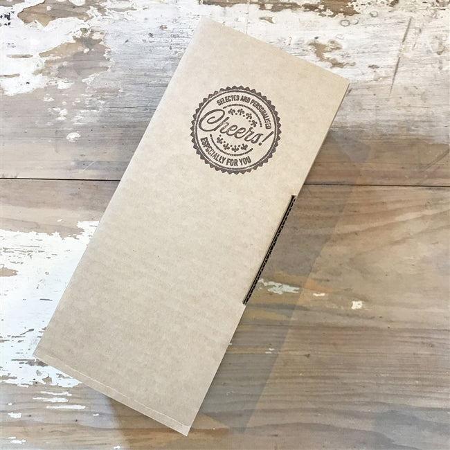 "Brown Packaging Box With The Words "" Selected And Personalised CHEERS! Especially For You"""