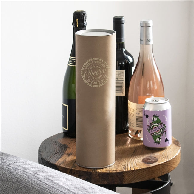 The bottle is sent in a modern buff tube made from recycled materials