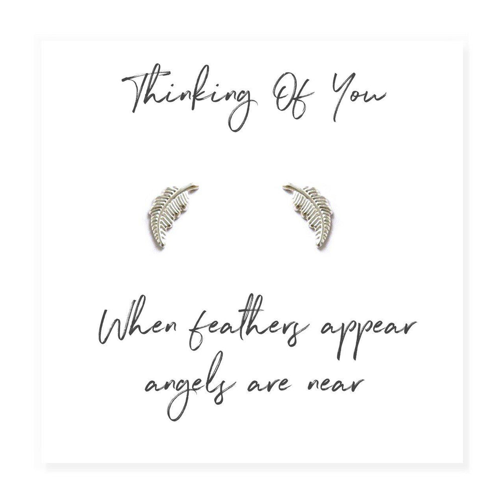Angel Feather Sterling Silver Earrings on Message Card