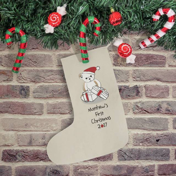 Bear My First Christmas Stocking - Personalised Name Under A Teddy