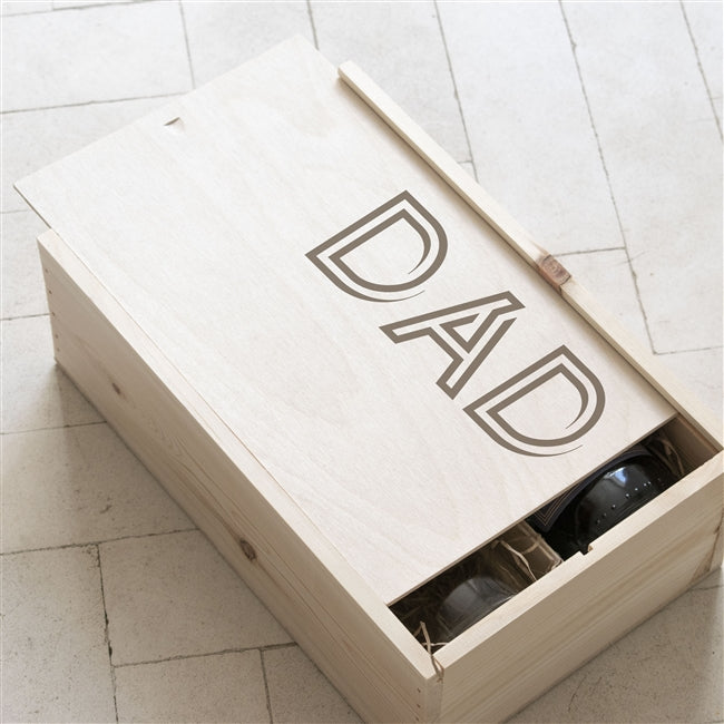 The Wooden Gift Box Has DAD Engraved On The Lid