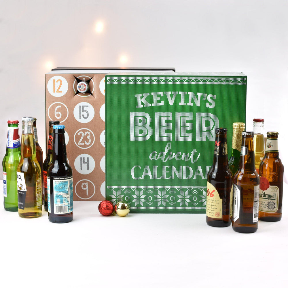 Personalised Beer Advent Box - Kevin's Name Above Text Beer Advent Calendar Surrounded By Various Beers