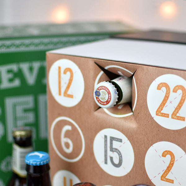 Personalised Beer Advent Box - A Beer Poking Out Of One Of The Advent Calendar Dates