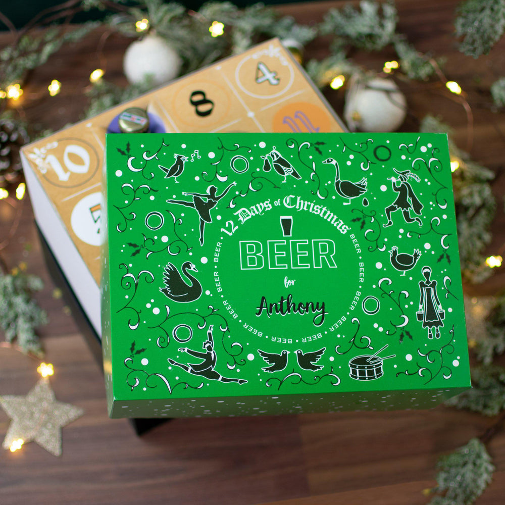 Personalised open lid 12 Days of Christmas Gift Box - Beer