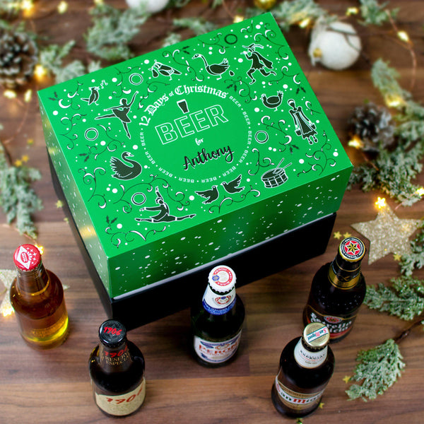 Personalised 12 Days of Christmas Gift Box - Beer outside box