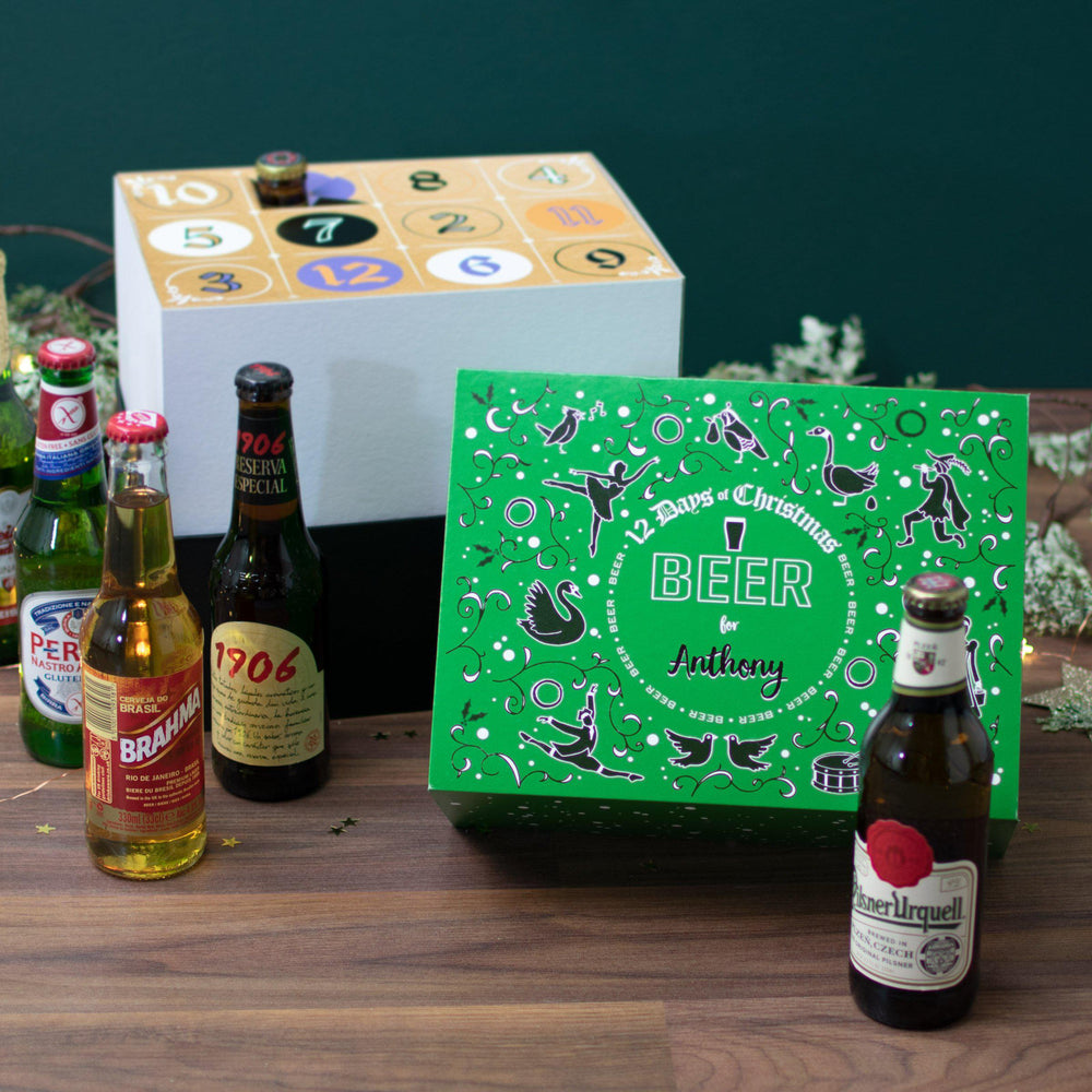 Personalised 12 Days of Christmas Gift Box - Beer options on show