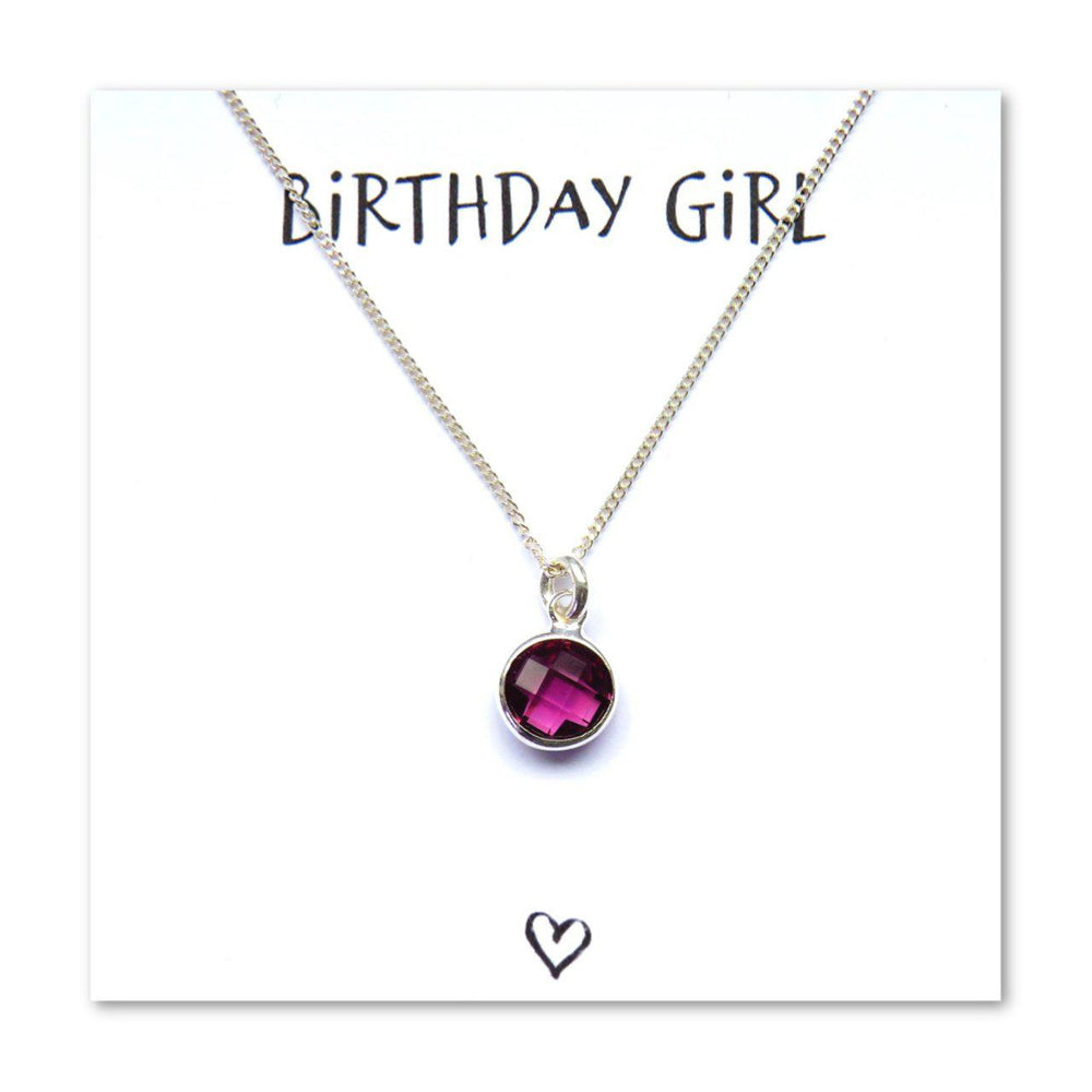 Birthday Girl Necklace & Card - Purple February Birthstone
