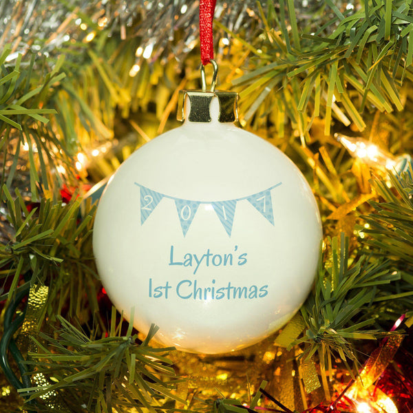 Personalised Blue Bunting Christmas Bauble