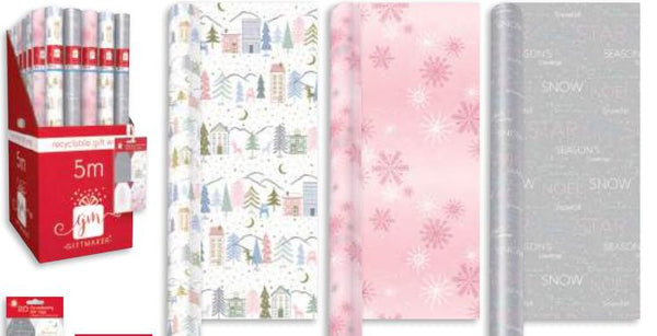 Blush 5m Christmas Wrapping Paper