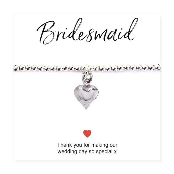 "Bridesmaids Heart Bracelet & Thank You Card - Card Reads ""Bridesmaid Thank You For Making Our Wedding Day So Special x"""