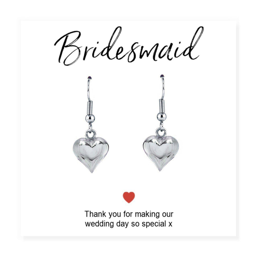 "Bridesmaids Heart Earrings & Thank You Card - Card Reads ""Bridesmaid Thank You For Making Our Wedding Day So Special x"""