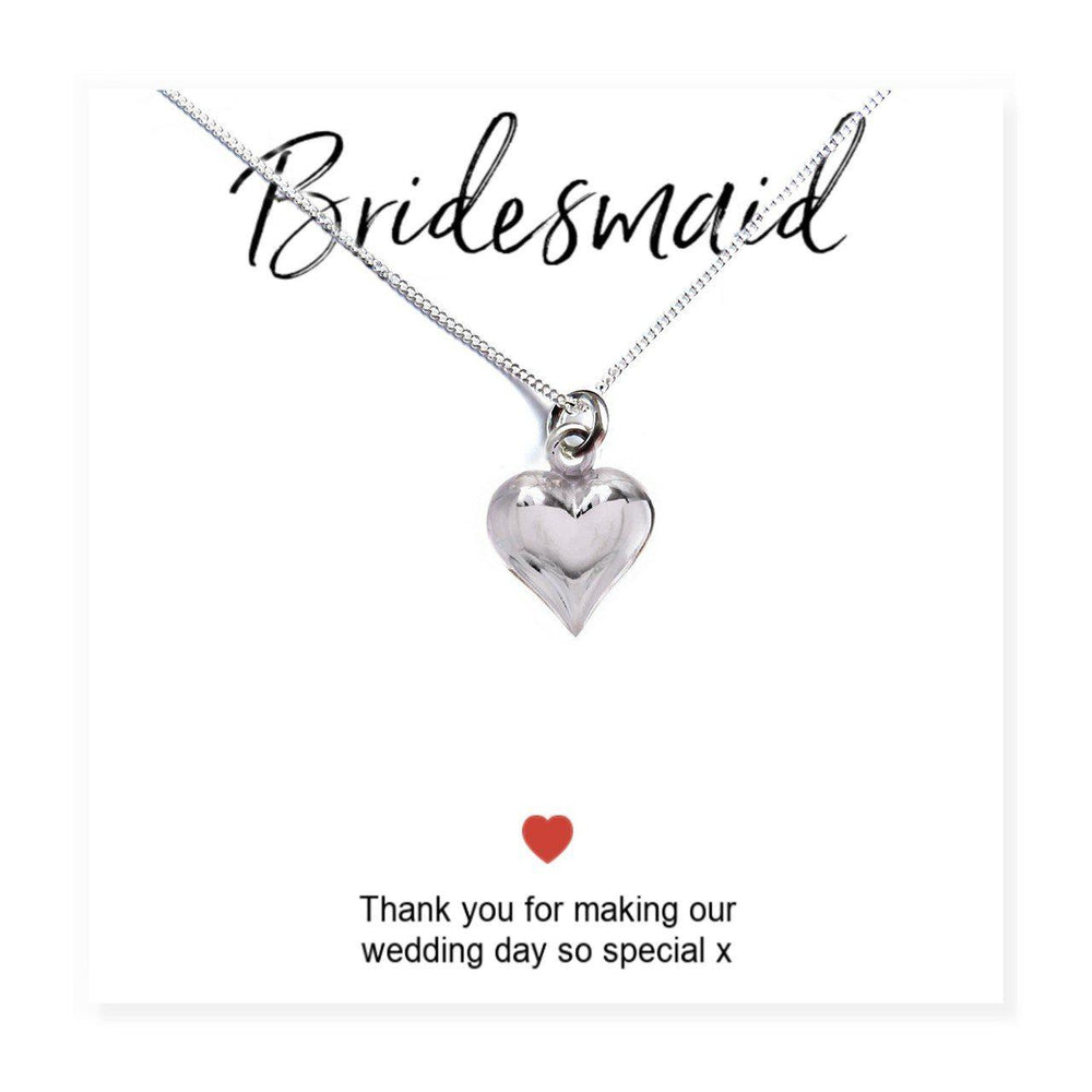 "Bridesmaids Heart Necklace & Thank You Card - Card Reads ""Bridesmaid Thank You For Making Our Wedding Day So Special x"""