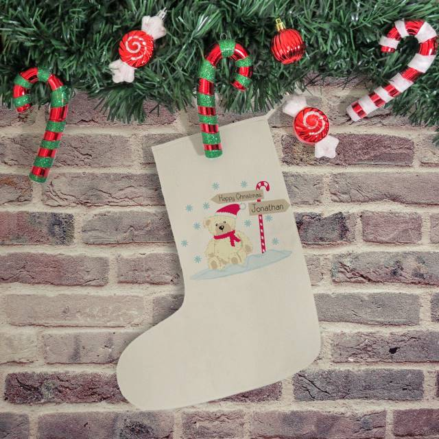 Candy Cane Bear Stocking
