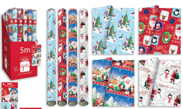 Santa &* Friends 5m Wrap In 4 Different Designs