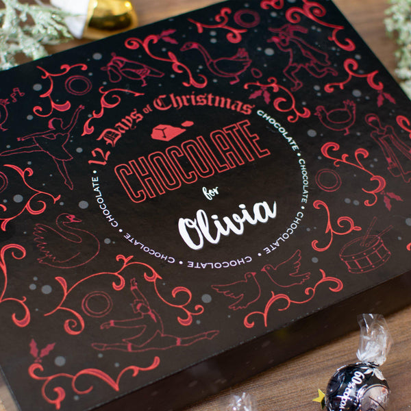 Personalised 12 Days of Christmas Gift Box - Truffle - Close up