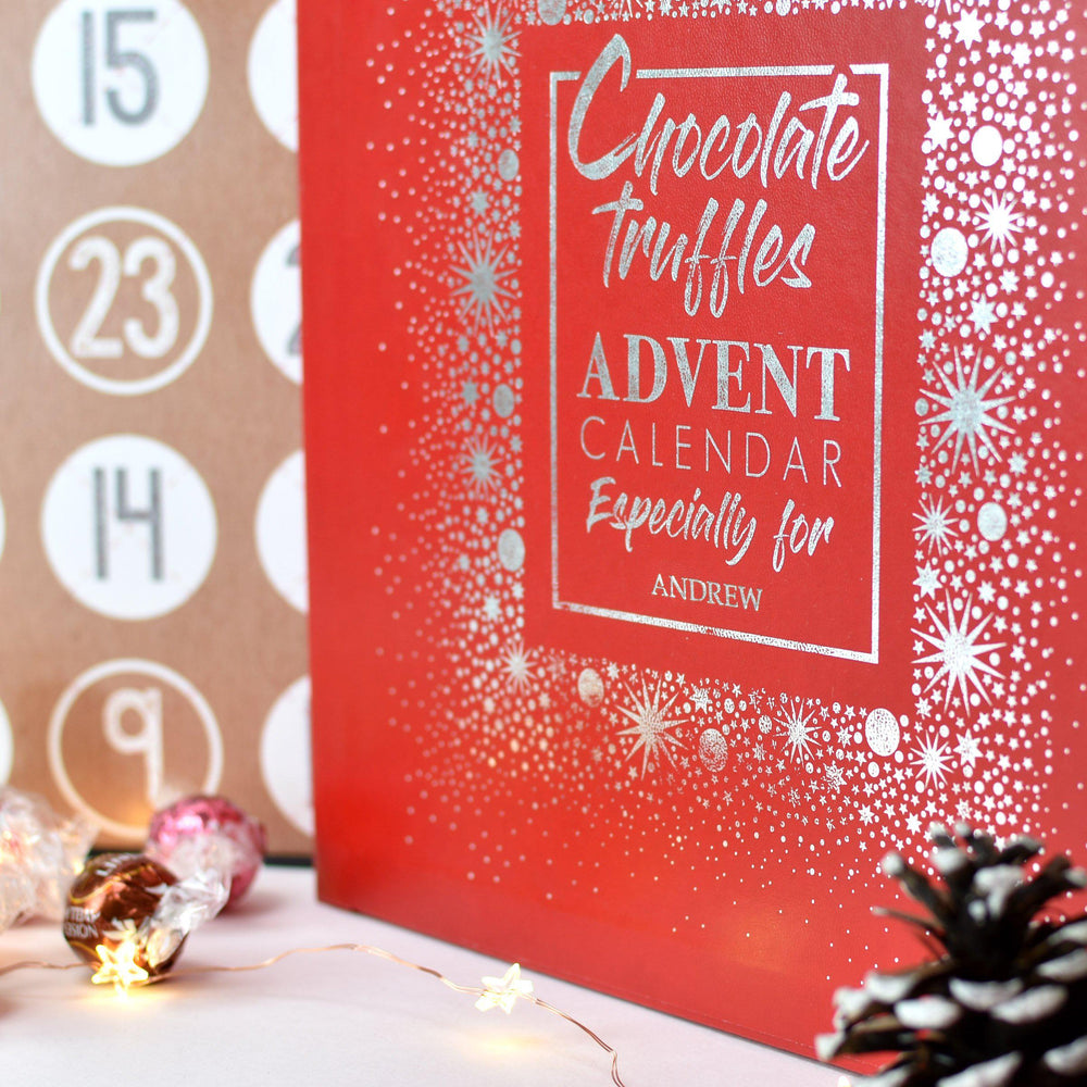 "Personalised Truffles Advent Box - Red Lid With The Text Chocolate Truffles ADVENT CALENDAR Especially for ""Name"""