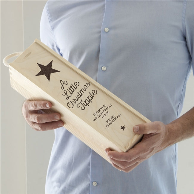 "Christmas Tipple Wine Box With A Black Star And Underneath Reads ""A Little Christmas Tipple"" Followed By Your Personal Message"