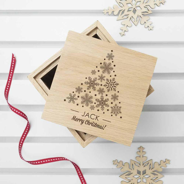 Christmas Photo Cube With Festive Treats - Christmas Tree Design With Personalisation Underneath