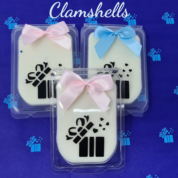 Set Of Three Clamshells Adorned With Pink & Blue Ribbons