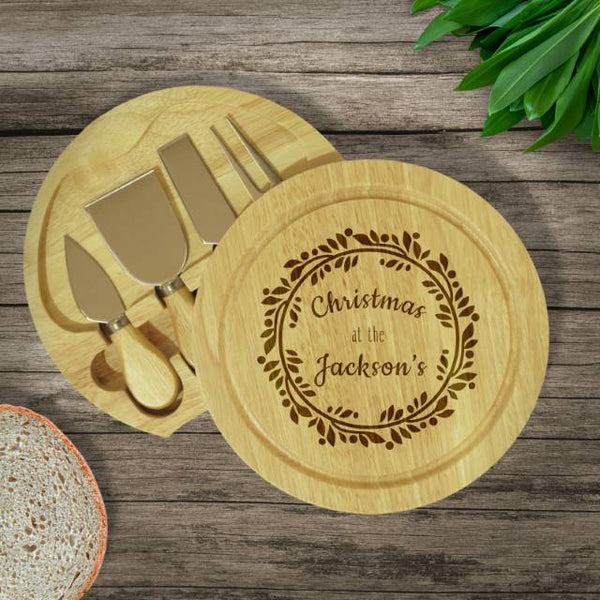 Contemporary Wreath Cheese Board & Knives - Personalised With Christmas At The Jacksons