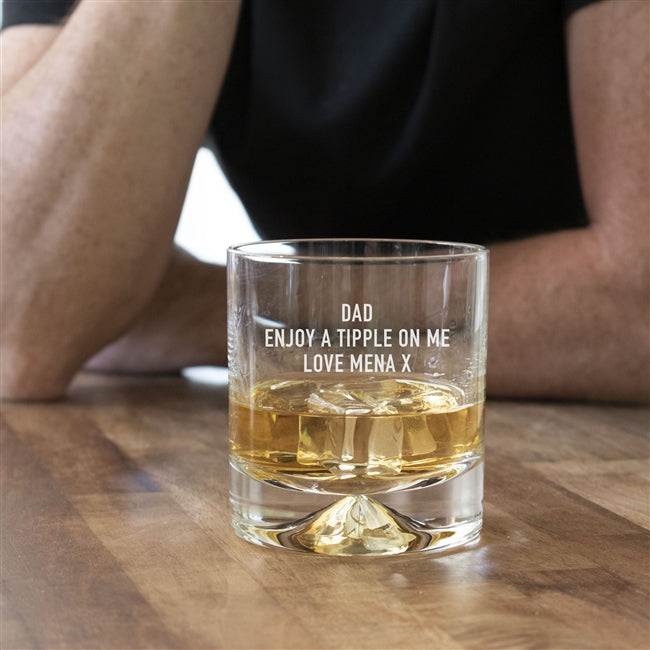 Dimple Whisky Glass With An Engraved Personal Message