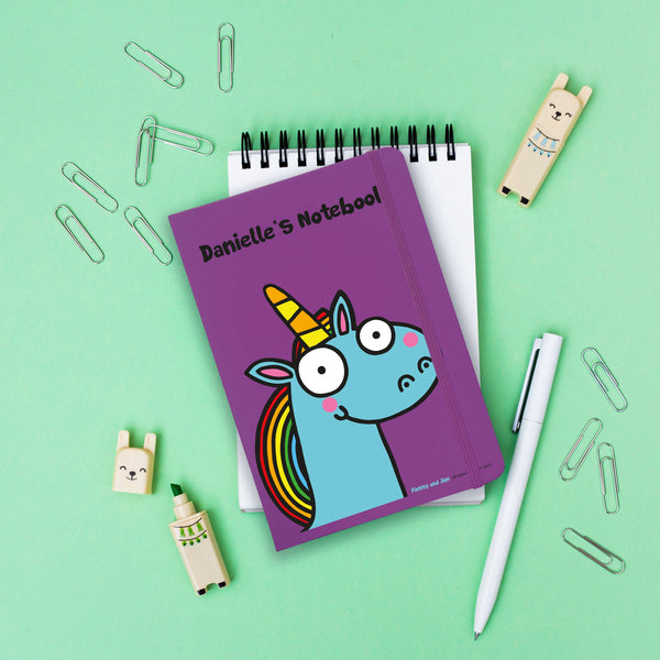 "Blue Unicorn Purple Notebook - Personalised ""Danielle's Notebook"""