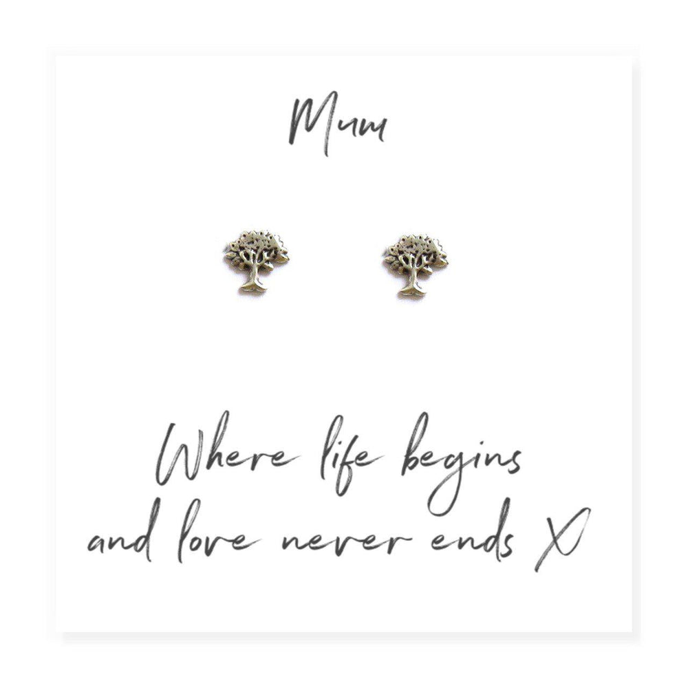 Family Tree Earrings on Message Card For Mum