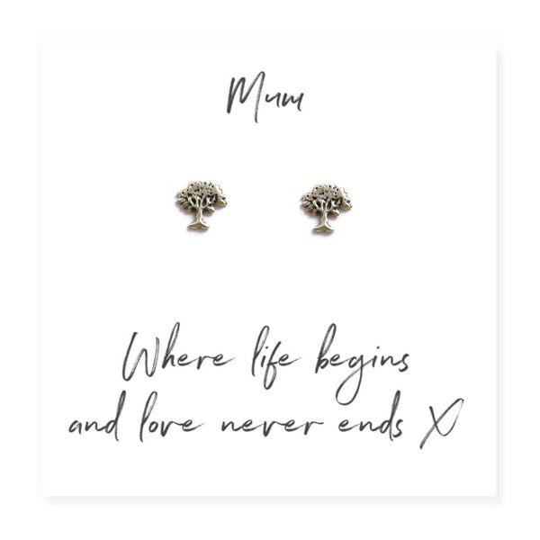 "Family Tree Earrings on Message Card For Mum - Message Reads ""Mum Where Life Begins And Love Never Ends x"""