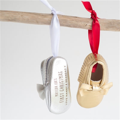 First Christmas Bootie Tree Decoration - Available In Gold Or Silver