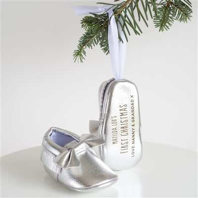 Silver First Christmas Bootie Tree Decoration - Personalise With A Name And Message