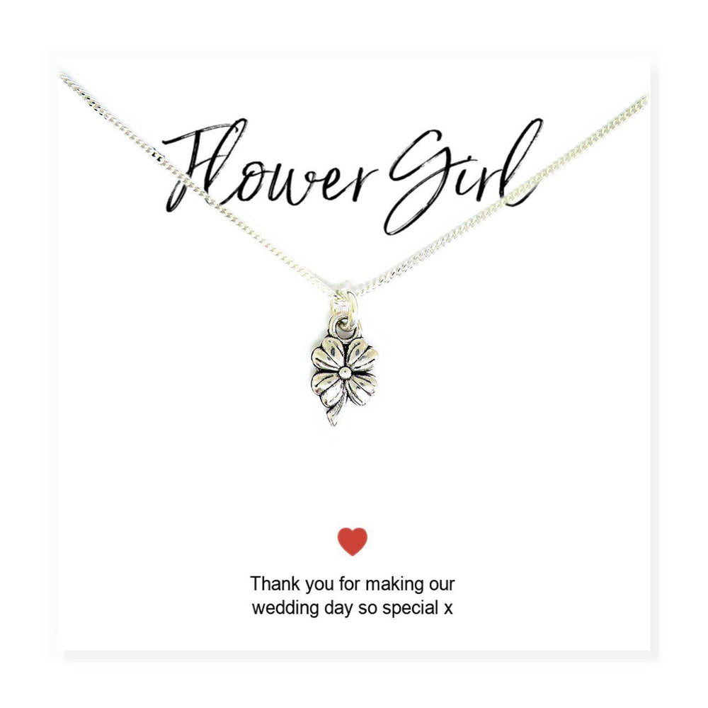 "Flower Girl Necklace & Thank You Card - Reads ""Flower Girl Thank You For Making Our Wedding So Special x"""
