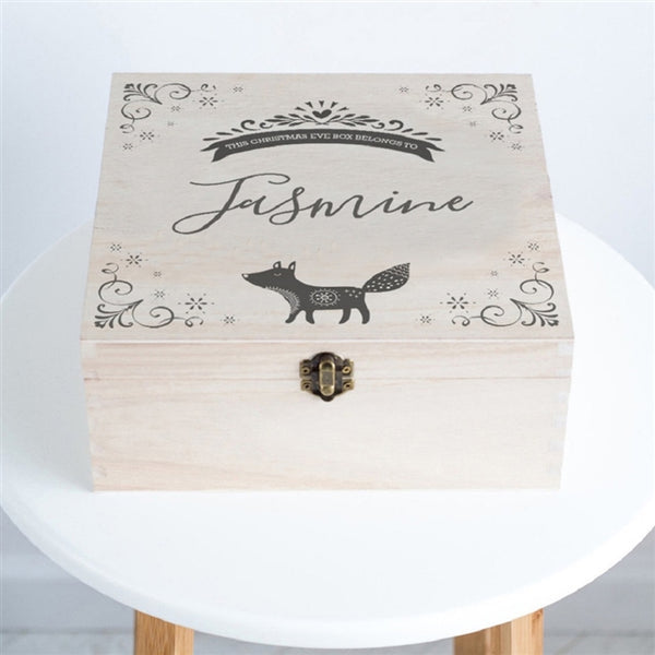 Fox Christmas Eve Box - A Cute Design Which Incorporates A Festive Design In Each Corner And A Little Fox Going About His Business