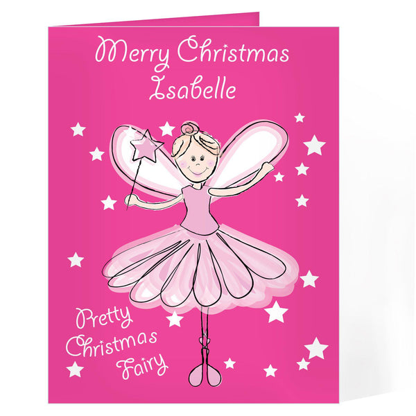 Personalised Christmas Fairy Card - Pink Card With A Pretty Christmas Fairy Surrounded By Stars