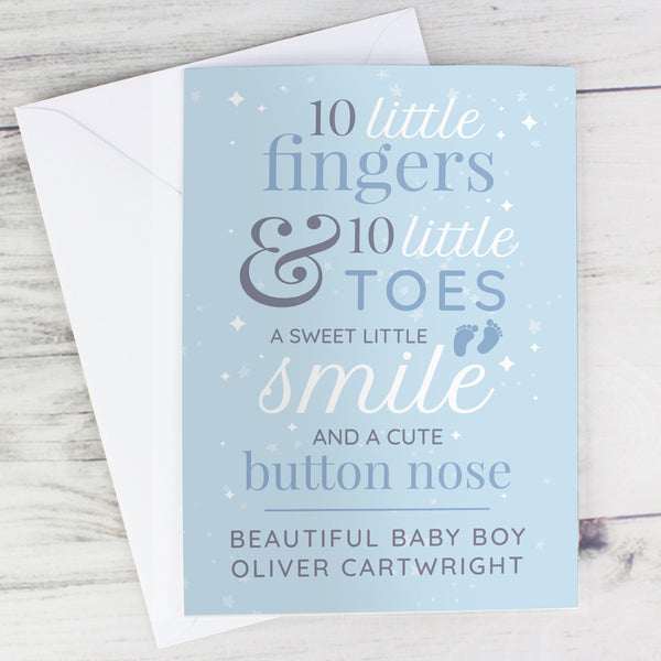 Personalised '10 Little Fingers' Blue Baby Card - Beautiful Baby Boy