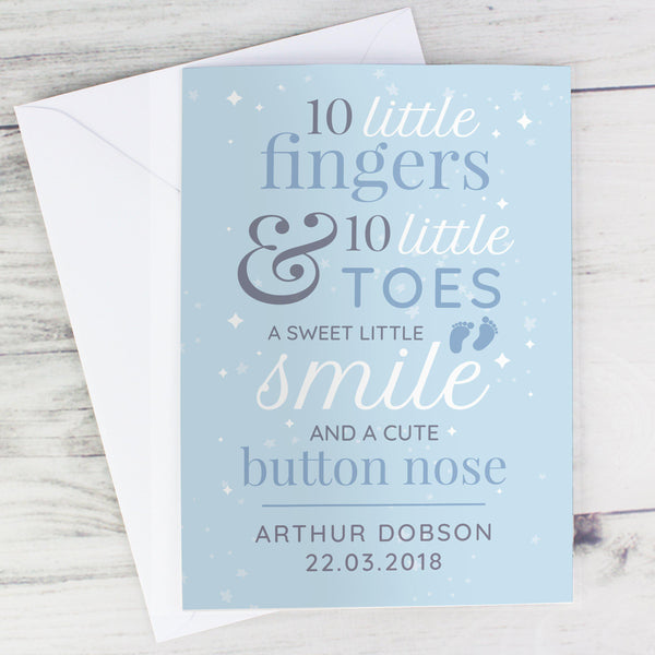 Personalised '10 Little Fingers' Blue Baby Card - Personalised For Arthur