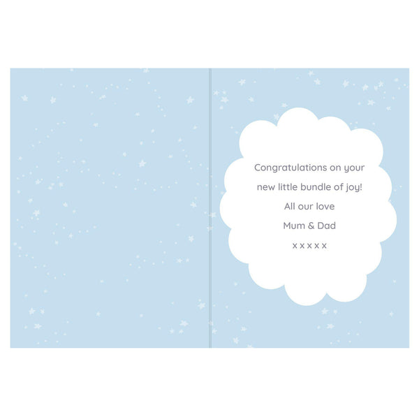 Personalised '10 Little Fingers' Blue Baby Card -  Personalised Text Inside The Card