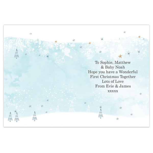 Personalised Polar Bear '1st Christmas As A Family' Card - Magical Snowy Scene On The Inside Of The Card With Black Text
