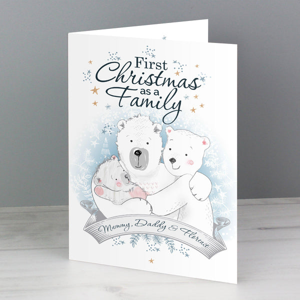 Personalised Polar Bear '1st Christmas As A Family' Card - Fixed Text Reads